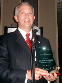 Dr. Keith Miller accepts ICCTA's 2007 Advocacy Award.