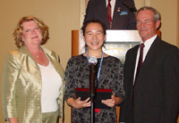 Joyce Woo (center) is the winner of ICCTA's 2005 Paul Simon Student Essay Contest.